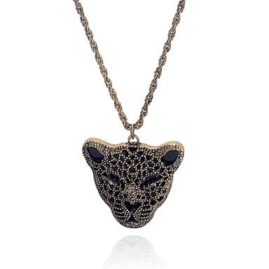 Lureme Vintage Style leopard head hollow out Pendant Drill Necklace