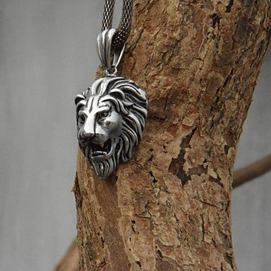 Classic (Original designer Lion Head) Stainless Steel Alloy Tie Pendant Necklace (Silver)(1 Pc)