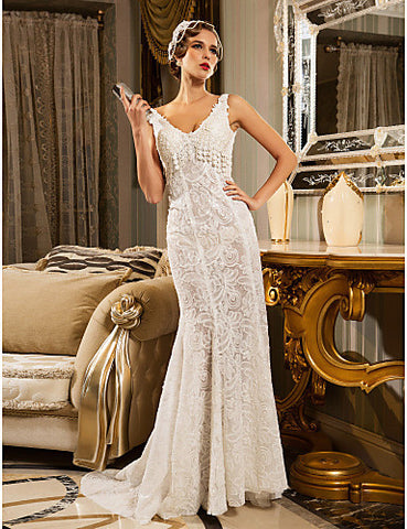 Wedding Dress Trumpet Mermaid Court Train Lace V Neck With Sequins Appliques