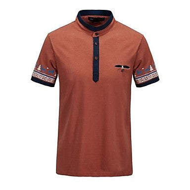 Men's Stand Collar Short Sleeve Ethnic Elements T-shirt