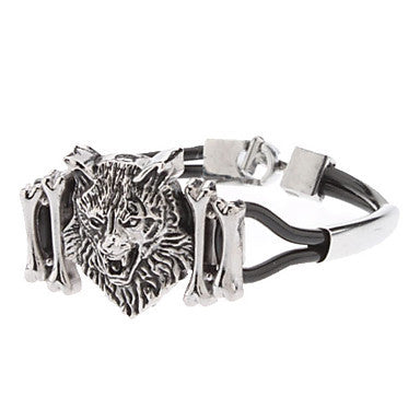 Wolf Head Logo Accessories Combination Leather Cord Bracelet
