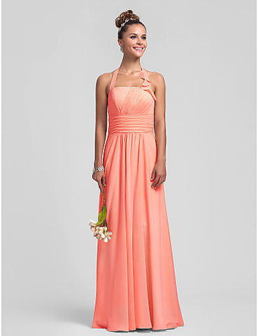 Empire Halter Floor-length Chiffon Bridesmaid Dress With Ruffles