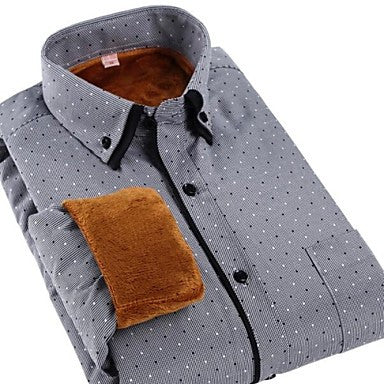 Men's Long Sleeve Thickened Warm Cashmere Shirt