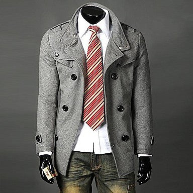 In the Men's windbreaker double-breasted collar with long coat F17
