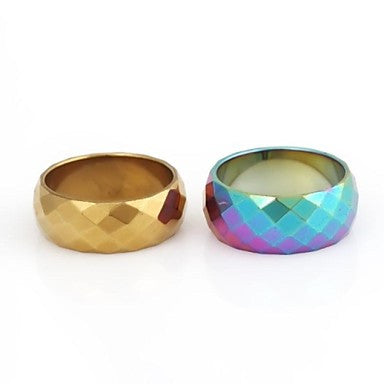 Men's Rhombus Velvet Pile Pattern Metallic Ring
