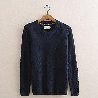 Men's Round Collar Sweater Knitting Render Unlined Upper Garment