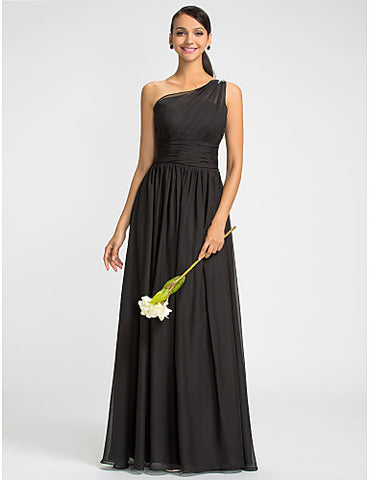 Bridesmaid Dress Floor Length Chiffon Sheath Column One Shoulder Dress With Beading