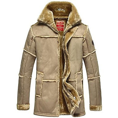 Men's Fur And Plush Leather Coat