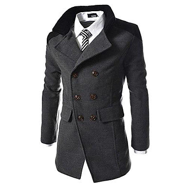 Men¡¯s Stand Collar Two Row Button Worsted Overcoat A