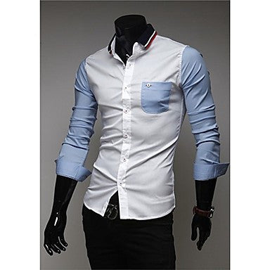 Men's Personality Color Blocking Long Sleeve Shirt