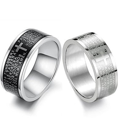 Cool personality Scripture Titanium Steel Men's Black and White Cross Ring