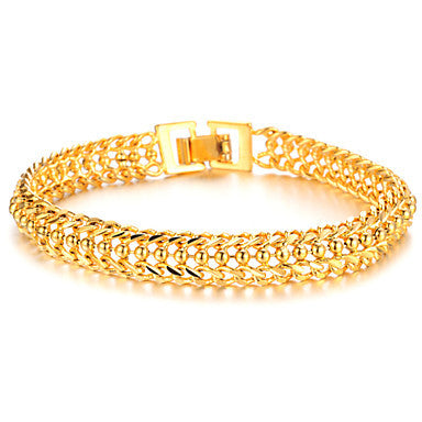 Cool Domineering 18 K Gold Jewelry Super Classic Boys Bracelet Texture