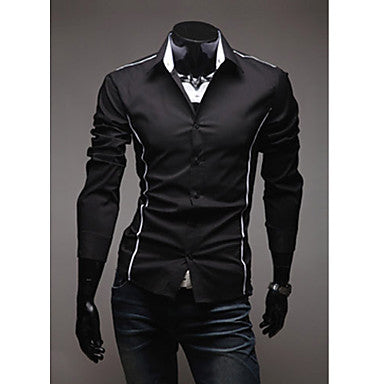 Men's Stylish Casual Trim Long Sleeve Shirt