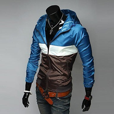 Men's Hooded Color Matching Design Long Sleeved Thin Jacket