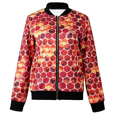 Men's Causal Round Collar Print Outerwear