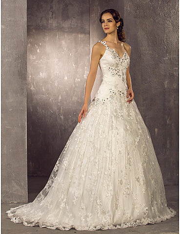 Wedding Dress A Line Sweep Brush Train Lace One Shoulder With Crystal Detailing and Appliques