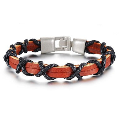 Retro Simplicity Rope Around Leather Stainless Steel Bracelet (1 Pc)