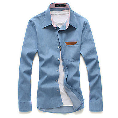 Men's Slim Denim Shirt with Pocket Detail
