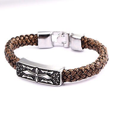 Punk Style Crown Alloy Leather Bracelet(1 Pc)