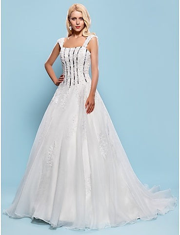 Ball Gown Square Court Train Organza Wedding Dress