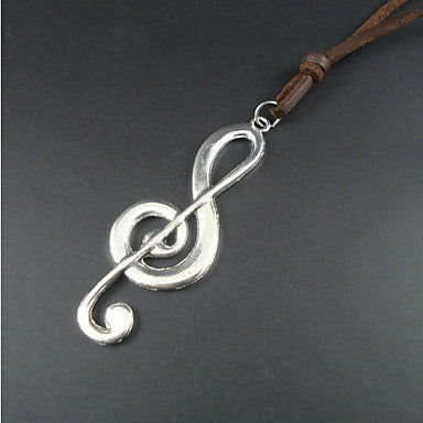 Fashion Note Brown Leather Pendant Necklace(1 Pc)