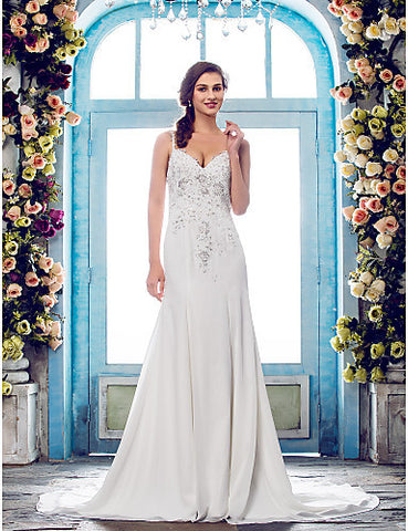 Trumpet/Mermaid Spaghetti Straps Court Train Chiffon And Lace Wedding Dress (631151)