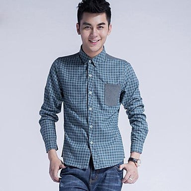Men's Stand Collar Check Pattern Shirt