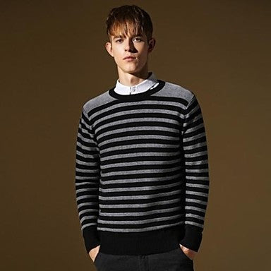 Men's Casual Slim-fit Britsh Style Fashion High Quallity Cotton Striped Knitwear Sweater