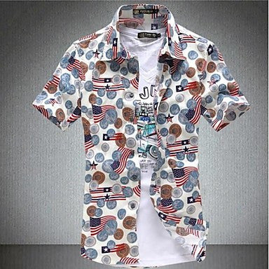 Men's Fashion Brand Print 100% Cotton Short Sleeve Shirt