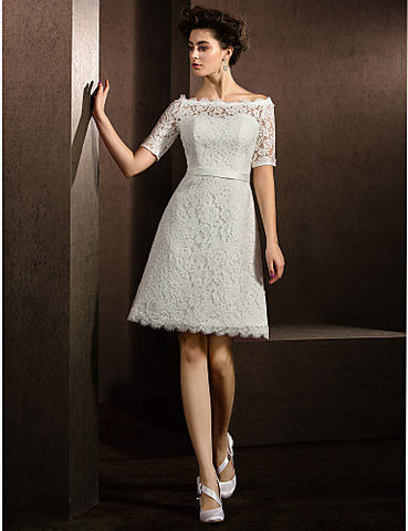 A-line/Princess Bateau Knee-length Lace Wedding Dress (2049183)