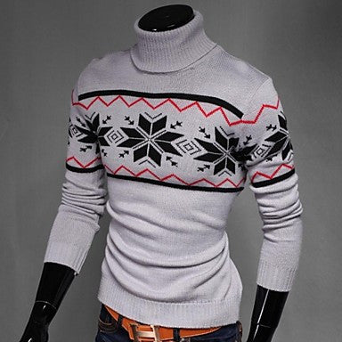 Men's Korean Slim Printing High-Necked Sweater