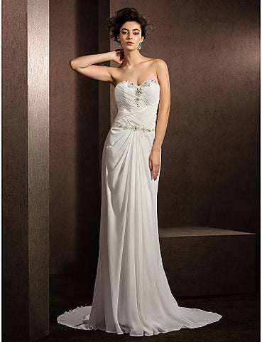 Sheath/Column Sweetheart Court Train Chiffon Wedding Dress (2487441)
