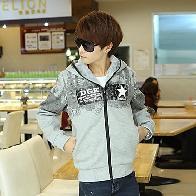 Men's Hoodie Casual Print Solid Color Cotton Long Sleeve Outerwear