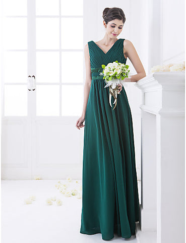 Bridesmaid Dress Floor Length Chiffon And Stretch Satin A Line V Neck Dress