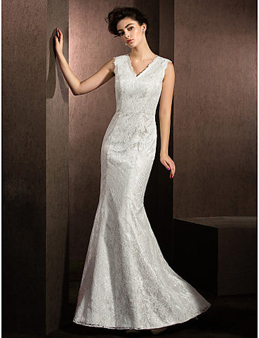 Trumpet/Mermaid V-neck Sweep/Brush Train Lace Wedding Dress (2487437)