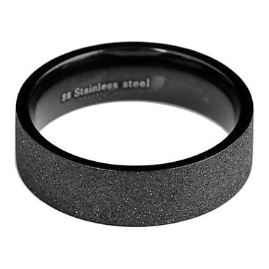 Fashion Men's Black Titanium Steel Band Ring(Black)(1 Pc)