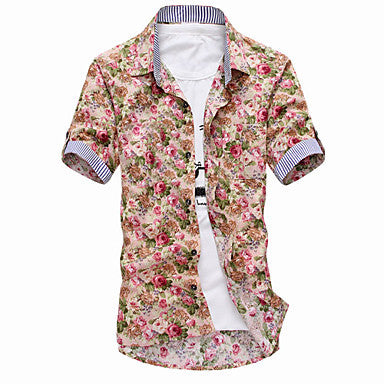 Men's Floral Print Short Sleeve Shirt(4)