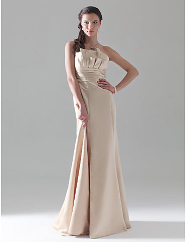 Bridesmaid Dress Floor Length Satin A Line Strapless Empire Dress