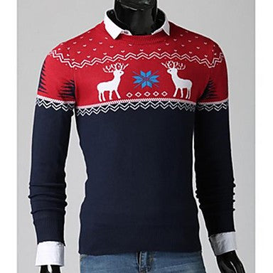 Men's Round Collar Animal Floral Printed Sweater