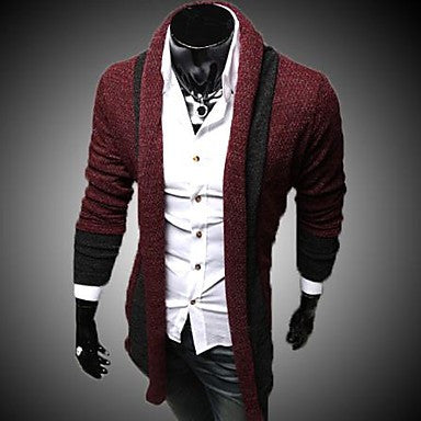 Men's Korean Casual Long Sleeved Color Matching Cardigan