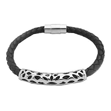 Men's Black Woven Hollow-carved Stainless Steel Silver Bracelet
