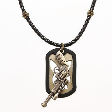 Punk Pierced Board (Gun) Black Leather Pendant Necklace (1 Pc)