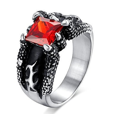Super Cool Mosaic Ruby Man Casting Titanium Steel Ring