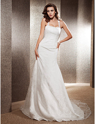 Charming Trumpet/Mermaid Square Chapel Train Lace Wedding Dress