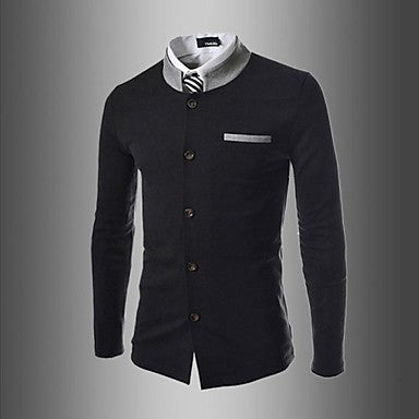 Men's Color Matching Small Collar Coat of Cultivate One's Morality Suit