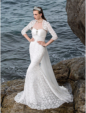 Trumpet/Mermaid Sweetheart Lace And Satin Court Train Wedding Dresses With A Wrap