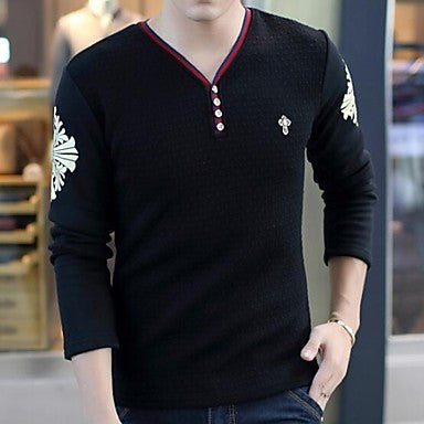 Men's With Long Sleeved Cashmere Thickened Slim V Brought Warm T-Shirt