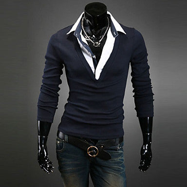 Men's V Neck Long Sleeve Cardigan