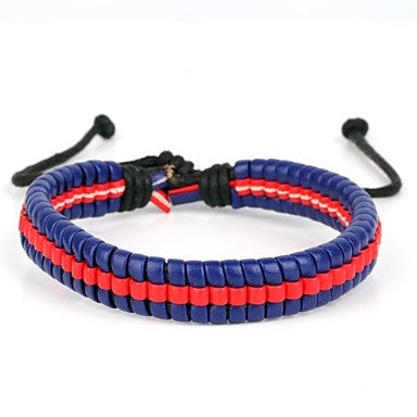 High Fashion Bumblebee Hard Middle Line Leather Bracelet Blue And Red(1 Piece)