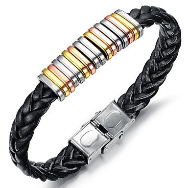 Fashion Personality Multicolor Leather Stainless Steel Bracelet (1 Pc)
